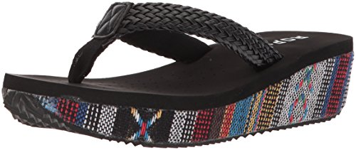 Roper Sandal Wedge Flora Black Women's rqHrp4w
