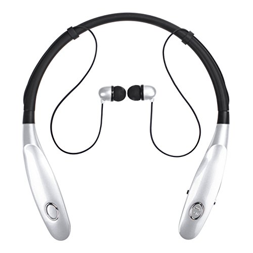 Bluetooth Headphones 14Hr Working Time, Truck Driver Bluetooth Headset, Wireless Magnetic Neckband Earphones, V4.2 Noise Cancelling Earbuds w/Mic, Compatible with Any Bluetooth Equitments (Sliver)