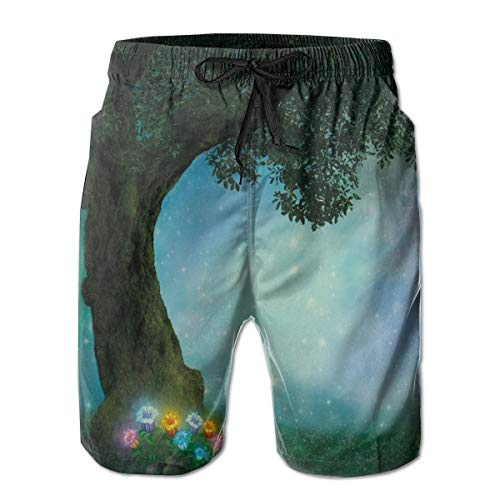Men Swim Trunks Beach Shorts,Fairytale Little Red Riding Hood Forest at Night with Flowers and Stars Image Print ()