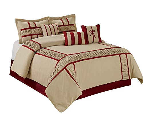 HIG 7 Piece Comforter Set King- Taupe Microfiber Ruffle Patchwork-MARMA Bed in A Bag King Size-Hypoallergenic,Fade Resistant-Includes 1 Comforter,2 Shams,3 Decorative Pillows,1 Bedskirt