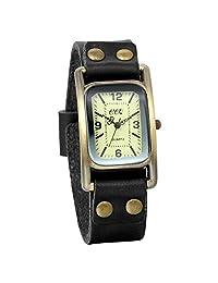 JewelryWe Vintage Black Leather Punk Band Casual Quartz Wrist Watch Mens Boys Gift