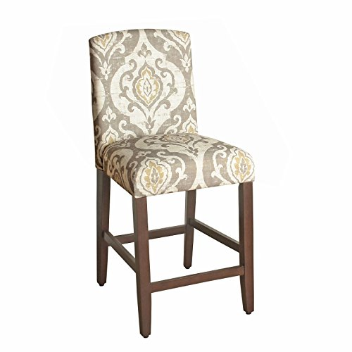 HomePop Curved Top Barstool, 24-Inch, Suri Brown