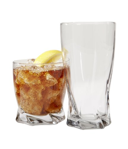 Anchor Hocking Sybil Small and Large Drinking Glasses, 16-Piece Glassware -