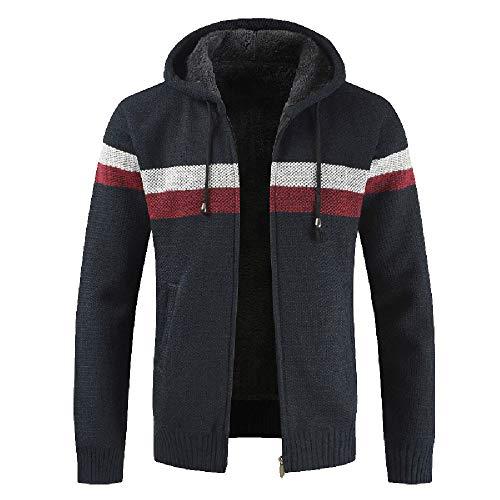 Fashion Men's Knit Zip Hooded Coat, Stand Collar Hoodie Cardigan,Drawsting Outwear Sweater