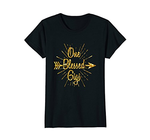 Womens One Blessed Gigi Shirt - Gold Grandma Thanksgiving T-Shirt Large - Gigi Gold
