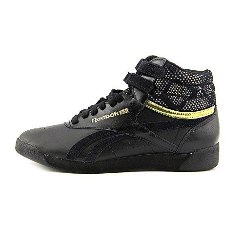 Reebok Freestyle Hi Jacquard Fashion Sneaker Shoe - Black - Womens - 6.5