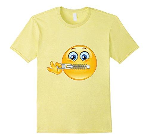 Zipper Face Halloween Costumes (Mens Official:Zipper-Mouth Face Emoji Costume T-Shirt- halloween XL Lemon)