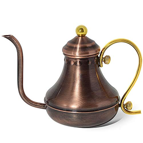Coffee Pot - Bronze, Stainless Steel Long Narrow Drip Goose Neck Teapot - Goose Pot