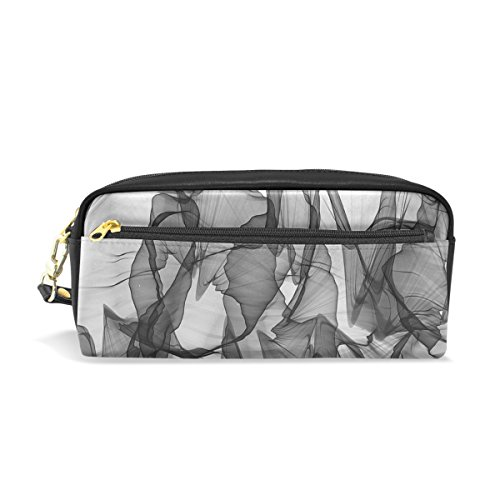 DNOVING Pencil Case Stylish Print Abstract Black and White Carbon Charcoal Art Pattern Large Capacity Pen Bag Makeup Pouch Durable Students Stationery Two Pockets with Double ()