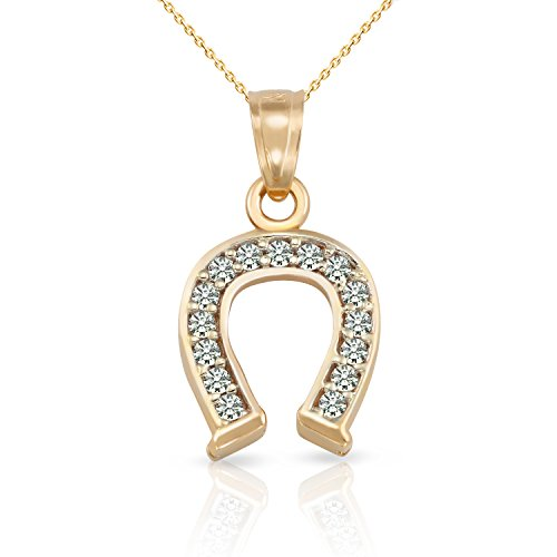 Elegant Solid 14k Yellow Gold Zircon Diamond Cut Lucky Horseshoe Pendant Necklace for women and men. (18, (Diamond Lucky Horseshoe Pendant)