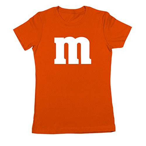 M Chocolate Candy Halloween Costume Outfit Funny Group Cool Party Womens Shirt Medium (Orange M&m Costume)