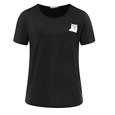 Neonr Pocket Cat Shirt Middle Finger Cute Funny Cartoon Printed Short-Sleeve Men and Women T-Shirt Tops