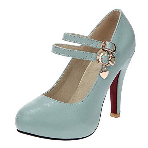 Femmes RAZAMAZA Escarpins Blue Jane Mary Chaussures Mode 7dr4wd