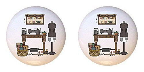 SET OF 2 KNOBS - Treadle Machine Welcome Friends - Crafts Sewing - DECORATIVE Glossy CERAMIC Cupboard Cabinet PULLS Dresser Drawer KNOBS from Farm Fresh Knobs & Pulls