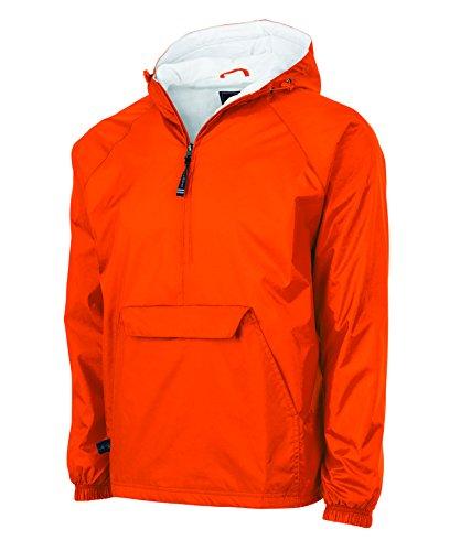 Charles River Apparel Wind & Water-Resistant Pullover Rain Jacket (Reg/Ext Sizes), Orange, - Windbreaker Orange