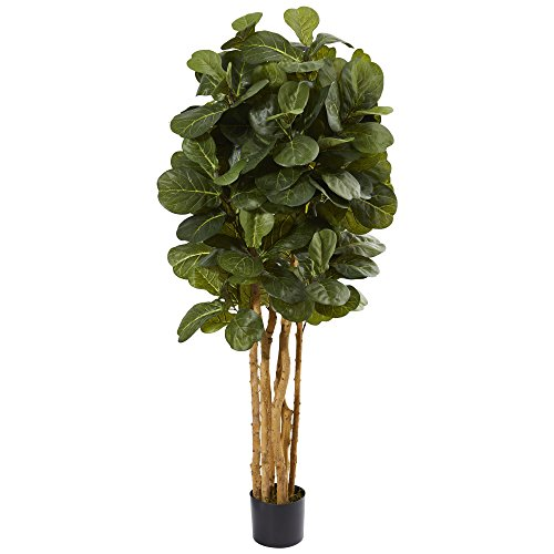 Nearly Natural 5' Fiddle Leaf Fig Artificial Tree, Green