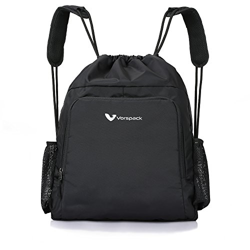 Drawstring Backpack Nylon Sports Gym Waterproof String Bag Cinch Sack Gymsack for Men Women ()