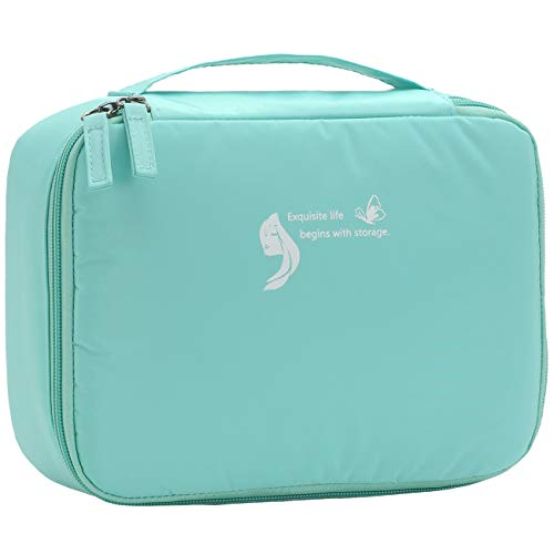 Travel Makeup luggage Cosmetic Case Organizer Portable Artist Storage Bag with Adjustable Dividers for Cosmetics Makeup Brushes Toiletry Jewelry Digital Accessories(Mint Green)