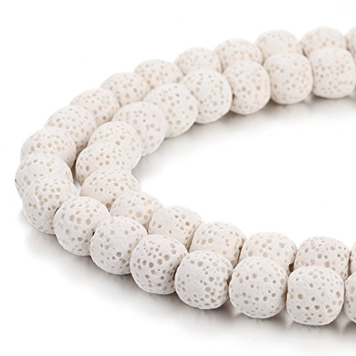 BORUO Natural 8mm White Color Lava Rock Stone Semi Precious Gemstone Round Loose Beads Energy Stone Healing Power for Jewelry Making (Approxi 48pcs per strand) (White Stone Precious)
