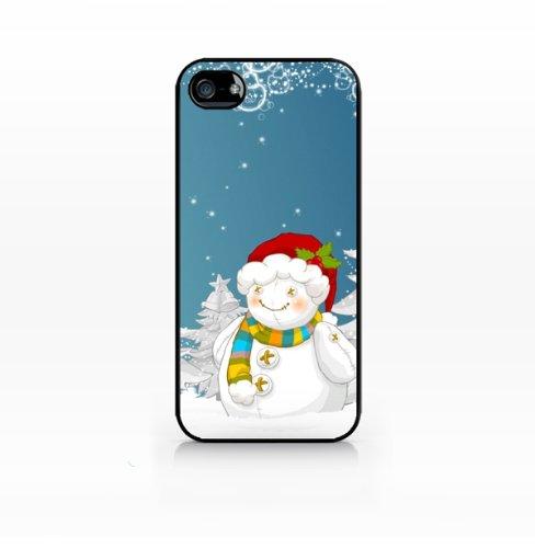 Christmas Snowman - Flat Back, iphone 4 case, iPhone 4s case, Hard Plastic Black case - GIV-IP4-197 BLACK