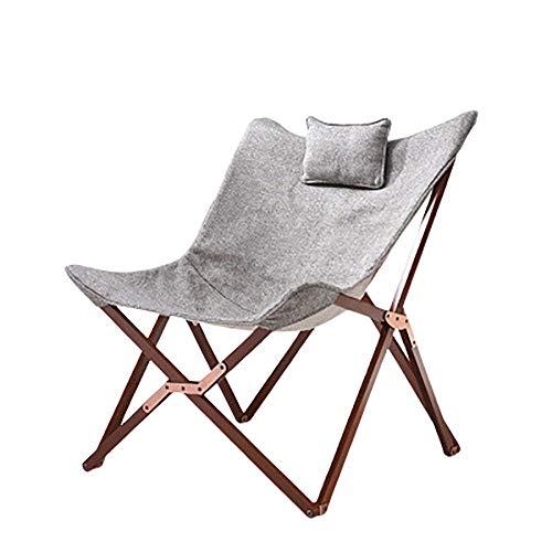 LTDH Silla Sillas Playa de Jardin Plegables Camping Playa Butterfly Sillon Reclinable Nordica Exterior Terraza Acolchado Interior y Exterior Design Moderno Relax Gris Claro