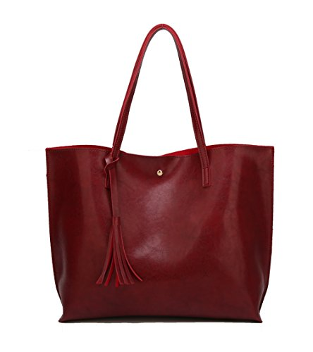 Hand Shopping Pu Burgundy Aalardom Women's Bags Strip Casual Pants x7Pq6zHR