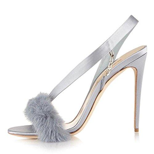 L@YC Frauen Bankett Super High-Heeled Tanz PlüSch Komfort Plattform GroßE GrößE Sandalen Gray