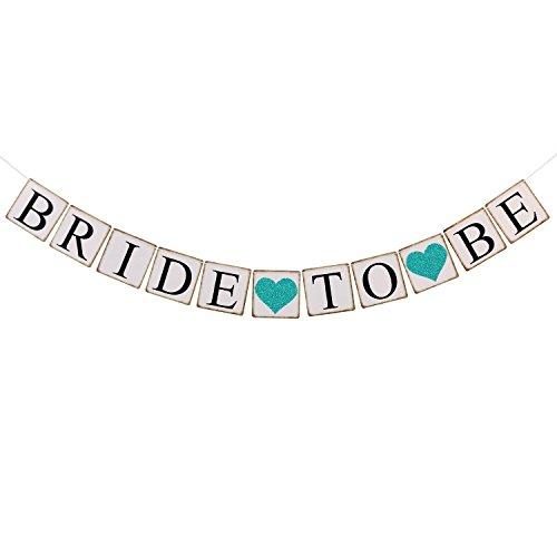 Ling's moment Bride to Be Banner with Teal Glitter Heart, Wedding Bunting Garland - Sign Photo Prop, Party Decoration, Bridal Shower Decor, Bachelorette Party Banners for $<!--$8.95-->