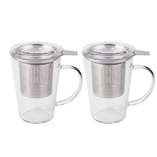 Fashion Simple Style Tea Mug with Infuser and Lid Glass Tea Cup 14 OZ (Glass set of 2) by JIEYU