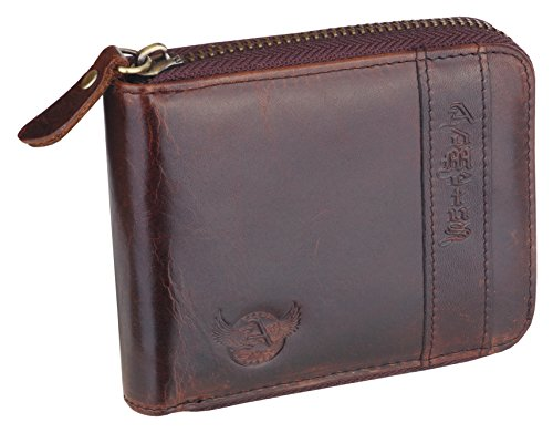 Elegant Men's Bifold Zip Leather Gift Wallet around Genuine Brown5 Admetus with 8Aq6ww