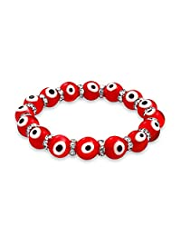 Turkish Red Evil Eye Glass Bead Stretch Bracelet for Women Rondelle Crystal Spacers for Protection and Good Luck