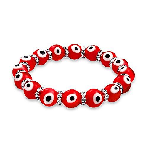 Bling Jewelry Evil Eye Glass Red Stretch Crystal Bracelet Silver - Eye Evil Glass Bracelet