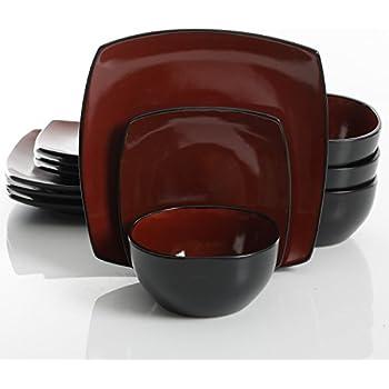 Gibson Elite Soho Lounge 12 Piece Dinnerware Set Red  sc 1 st  Amazon.com & Amazon.com | Corelle Hearthstone 16-Piece Square Dinnerware Set ...