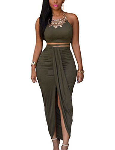 Dokotoo Womens Summer Sleeveless O-Neck Faux Suede Two Piece Maxi Skirt Set Large Olive (Sexy Long Skirts)