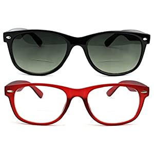 Bifocal Reading Glasses and Bifocal Sunglasses for Men and Women 2.5 Red