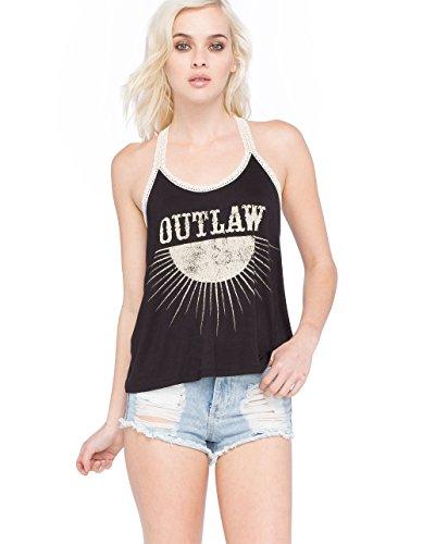 FULL TILT Outlaw Crochet Trim T Back Womens Tank, Black, Small