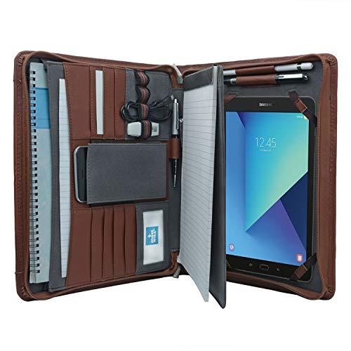Tablet Portfolio Case with Notepad Holder, Zippered Leather Portfolio Folder Case for Samsung Galaxy Tab S3 9.7