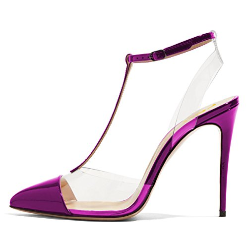 Slingback FSJ Shoes Size Pumps Sandals Stiletto Strap 4 US T 15 Purple Women Heel Transparent Clear High RR4xXr