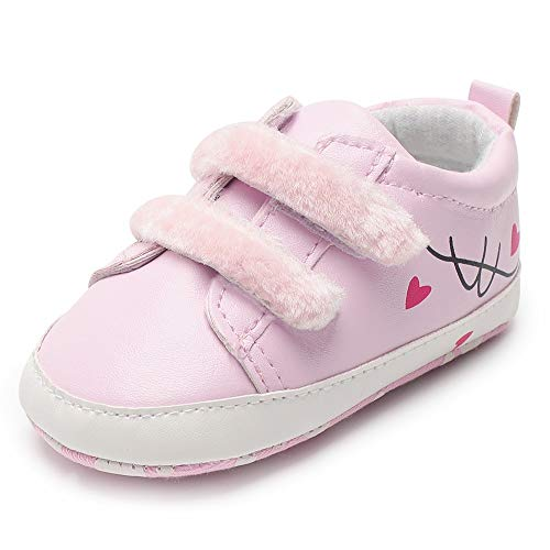 (Baby Sneakers Girls, Amiley Infant Toddler Baby Heart Print Flock Soft Sole Shoes Sneakers Shoes (0-6M,)