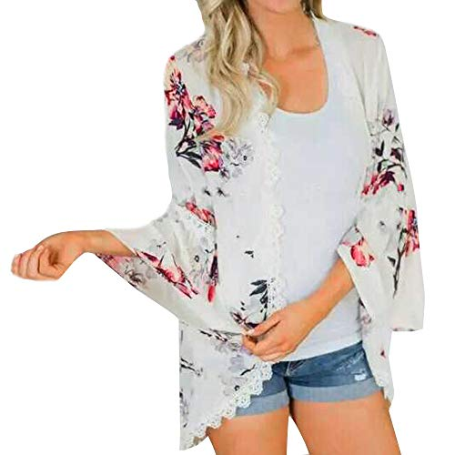 kaifongfu Chiffon Flower Print Lace Coat Tops Women Suit Fashion Smock(White,L) for $<!--$4.93-->