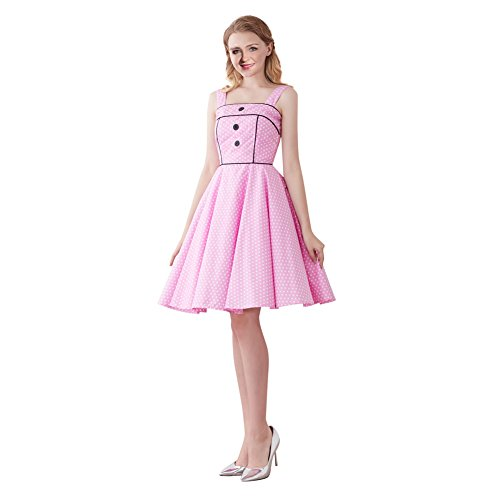 FiftiesChic Shoulder Straps 100% Cotton Polka Dot Floral 50s Vintage Rockabilly Swing Dress (Large, Pink White Mini Polka Dot)