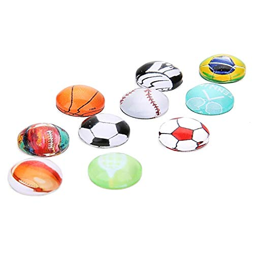 Kamas 20pcs/lot Mixed Color 10/12/14/20/25mm Glass Cabochon Cameo Fit Bracelet Base Bangle Cufflink Tray Football Sport Cabochon Base - (Ships from: China, Size: 10mm) ()