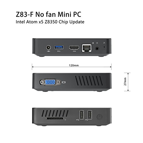 Upgraded Z83-F Fanless MINI PC Desktop, 4GB/32GB Intel Atom x5-Z8350 (up to 1.92 GHz) HD Graphics 400/ 4K/ 2.4G+5.8G WiFi/ 1000Mbps LAN/ BT4.0 [VGA&HDMI Dual Output] [Support Windows 10 64-Bit] by Plater (Image #3)