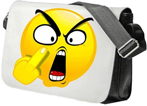 """Schultertasche """"Böses/Verärgertes Gesicht mit Stinkefinger"""" Schultasche, Sidebag, Handtasche, Sporttasche, Fitness, Rucksack, Emoji, Smiley"""