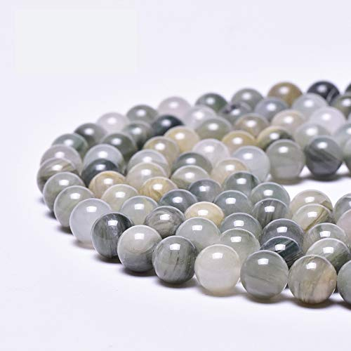 (Asingeloo Natural Gray Green Grass Jade Gemstones Beads for Jewelry Making Round Loose Spacer Stone Beads 8mm 15
