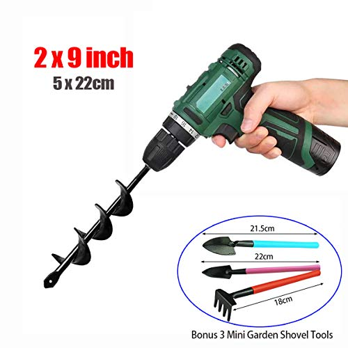 GreatforU Bulb & Bedding Plant Auger Drill Bit, Backyard Planting Flower Bulb Auger 2″ x 9″ Speedy Planter, Submit Fish Gap Digger, Non-Slip Hex Drive Matches 3/Eight inch Drill, Free Three Mini Backyard Shovel Instruments