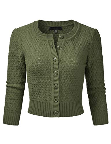 Sage Crop - EIMIN Women's Crewneck Button Down 3/4 Sleeve Knit Crop Cardigan Sweater SAGE L