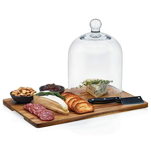 Libbey Acaciawood 4-Piece Cheese Board Serving Set with Glass Dome