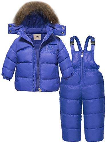 ZOEREA 2 Piece Unisex Kids Girls Snowsuit Hooded Puffer Jacket Snow Pants (Label M/Height 29.53-33.46 inch, Blue)