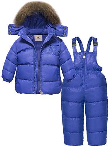 ZOEREA Girls Winter Snowsuit, Newest Children Clothing Sets Winter Hooded Duck Down Jacket + Trousers Snowsuit (Label S/1-2T, Blue)